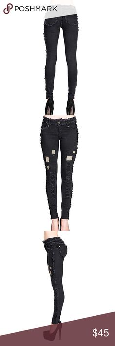 🌹Sexy Shaggy Black Skinny ~ Look Jeans Embelish 💕💕 Black 🌹 Shaggy  ~  Tight 🌹 Skinny ~ Look Jeans  💕💕 Really Pretty with a Black Skin ~ Tight Bodysuit 😘 Runs Smaller then Usual ❤this is marked as Size 9 . . . ACTUALLY Fits a size 7 / 8 💕💕💕 Jeans Skinny