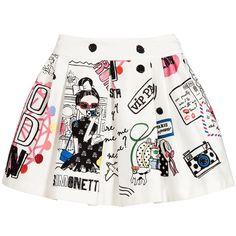 Simonetta White Cotton Skirt with Travel Theme Print at Childrensalon.com