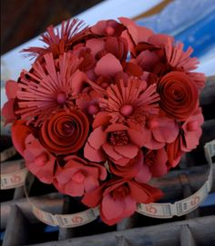 Just because your color is red doesn't mean your bouquet must be real, cool paper bridal bouquet