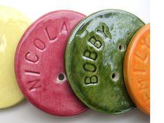 Custom text ceramic button by LauraPotterCeramics