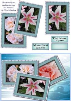 - A nice card to send anyone for any reason really, has labels All our best wishes, and Thinking of you and a blank for your o. Flower Picture Frames, Card Making, Greeting Cards, Basket, Make It Yourself, 3d, Nice, Spring, Birthday