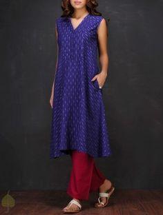 Blue-White Ikat V-neck Handloom Cotton Kurta by Jaypore