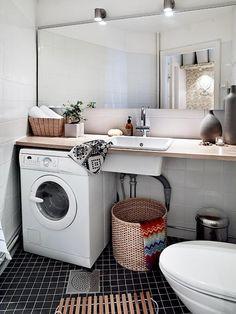 Amusing Scandinavian Bathroom Ideas with Large Wall Mirror and White Single Washbasin also White Washing Machine under Bathroom Vanity