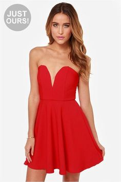 LuLu*s Exclusive! In the case of the All Good Things Strapless Red Dress the fun just never ends,...