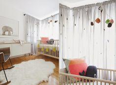 Decoração minimalista em quarto de bebê com tema elefante