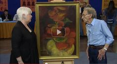 A lost Zelda Fitzgerald painting was featured on antique roadshow. This one had been given as a gift to one of her doctors. The appraiser is a bit tickled and in awe that she gets to appraise such an unusual find. Scott And Zelda Fitzgerald, Roaring 20s Fashion, Friday News, Antiques Roadshow, Asheville, History, Gatsby, Doctors, Madness