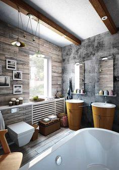 ... loft moderne - mur en béton, lambris mural de bois et sanitaire blanc