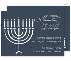 Menorah on Blue Holiday Cards