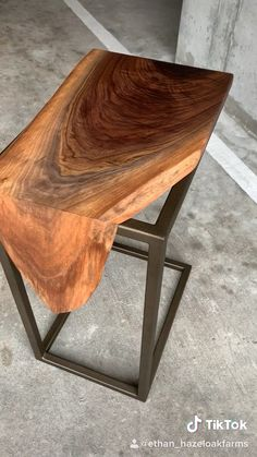 Waterfall walnut C-table - Custom waterfall walnut c-table. Handmade from one slab of walnut and features a gold powdercoated - Steel Furniture, Industrial Furniture, Custom Furniture, Table Furniture, Home Furniture, Furniture Design, Furniture Legs, Industrial Table, Modern Wooden Furniture