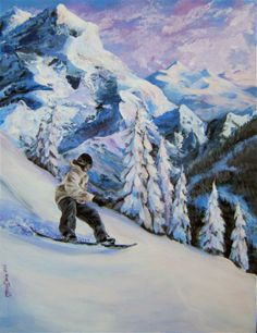 Snowboard Painting - Early Morning Fresh Snow by Mona Davis Painting Snow, Acrylic Painting Canvas, Mountain Landscape, Winter Landscape, Ski Drawing, Cute Couple Art, Mountain Paintings, Snow Skiing, Sports Art