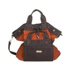 Aryana Adi-11-Org Brown Orange Double Adjustable Strap Zip Closure Womens Tote Bag