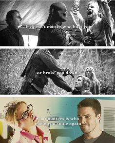 #Arrow #Olicity ♥ the first time, Oliver Queen smile!! And he understand whats happent in his heart!!!