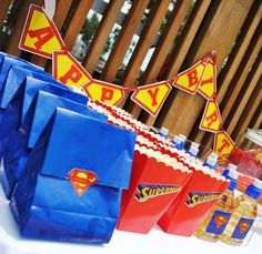 Popcorn snack bags - SuperMan Themed Birthday party by Beautique Events Superman Party Favors, Superman Birthday Party, Batman Party, Baby 1st Birthday, 4th Birthday Parties, Superhero Party, Birthday Ideas, Snack Bags, Goodie Bags