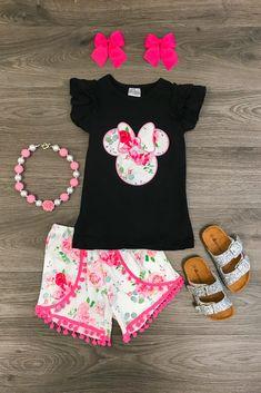 adf6e5e6076 Floral Minnie Pom Pom Short Set  babygirlshorts Baby Girl Fashion