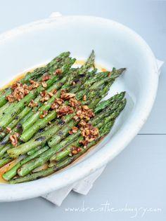 Grilled Asparagus w/ Sriracha & Pecan Vinaigrette