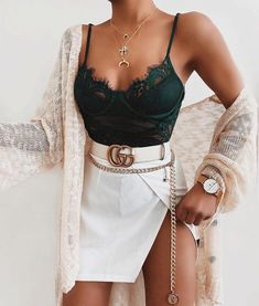 Lace Bodysuit Outfit Idea Source by ecemella outfits for teens Cute Casual Outfits, Stylish Outfits, Mode Outfits, Fashion Outfits, Miami Outfits, College Outfits, Club Outfits, Fashion Ideas, Fashion Inspiration