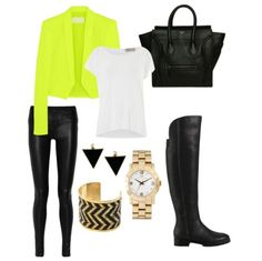 Edgy bold neon but classy outfit