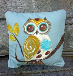 Wise Old Owl Hand-painted Owl Pillow Cover by SippingIcedTea