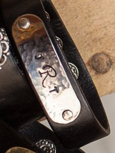 "3/4"" Leather Bracelet w/ Stainless Steel Plate Perfect for a Monogram or one Line thru the middle of the Plate!"