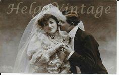 Art Noveau German DLG tinted photo-postcard couple, bride, marriage early 1900s' Photo Postcards, Vintage Postcards, Vintage Photos, Brides, German, Marriage, Couple, Antique, Wedding