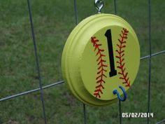 """Softball helmet holders! Softball Helmet Holders... Round wood piece, closed screw eye hook, one """"s"""" hook, and one open screw eye hook... Paint, install hardware, hang in dugout each game to keep dugouts organized!"""