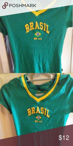 Female Brasil football t-shirt Green and yellow. With Brazilian flag in the center of shirt. Stretchy. Barely worn BR 111  Tops Tees - Short Sleeve