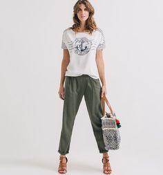 T-shirt z łączonych materiałów niebieskie paski - Promod