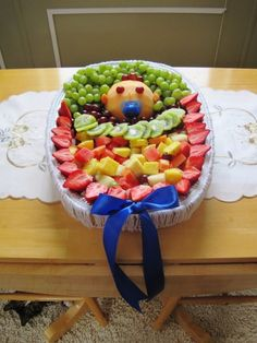 fruit trays for baby shower | Fruit Tray I made for Bailey's baby shower. | I like!!!! #baby shower #Baby Shower Invitations #Baby Shower Craft Idea #Baby Shower Cake #Fall Baby Shower by Maria CS