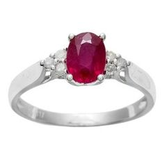 White Gold 1.13ct Genuine Ruby and Diamond Ring