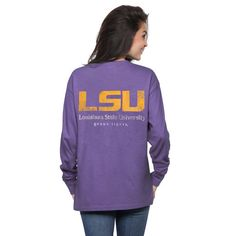 LSU Tigers Women's Purple Silhouette Pocket Long Sleeve T-Shirt