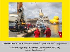 GIANT RUBBER DUCK  (LWH=85'x66'x105')  [2007] @ FRANCE - St. Nazaire: Loire River --- inflatable balloon Sculpture floating around the world to spread Peace/Goodwill