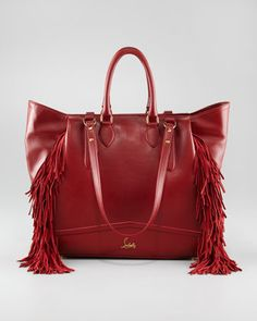 Justine Fringe Tote by Christian Louboutin at Bergdorf Goodman.