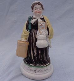 Antique Continental Porcelain Match Holder Woman and Dog I am Off With Him 1880