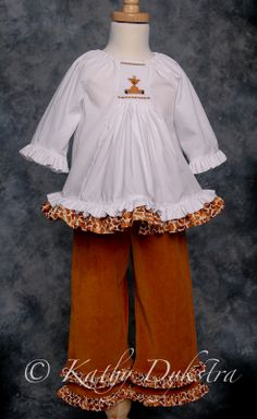 """Temily"" smocked top from AS&E #80 with ruffled pants"