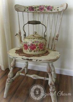 This adorable shabby chic chair has been sold - this listing is for your very own custom order. Hand painted with careful thought and attention to