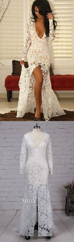 Long Prom Dresses with Slit,White Prom Dresses Mermaid,Long Sleeve Prom Dresses Lace,V-neck Prom Dresses Sexy