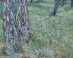Vincent Van Gogh 'Boomstammen het gras [Tree trunks in the grass]' 1890 oil on canvas Collection Kroller-Muller Museum, Otterloo, The Netherlands Part of the Upcoming Turner to Monet exhibtion Vincent Van Gogh, Tree Trunk Painting, Painting Grass, Van Gogh Arte, Van Gogh Paintings, Artwork Paintings, Modern Paintings, Canvas Paintings, Art Van