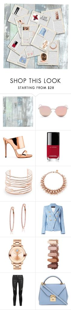 """""""Powerful papers"""" by oliviadent ❤ liked on Polyvore featuring Wall Pops!, Stephane + Christian, Giuseppe Zanotti, Chanel, Alexis Bittar, Ellen Conde, Anne Sisteron, Balmain, Movado and Givenchy"""