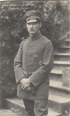 Example of the M1916 undress field blouse (buttons covered by a flap). Note the lack of rank insignia on the collar.  Leutnant Hans Ritter von Adam --- FAA 2b, Jasta 34, 6. Killed in action 15. Nov. 1917.