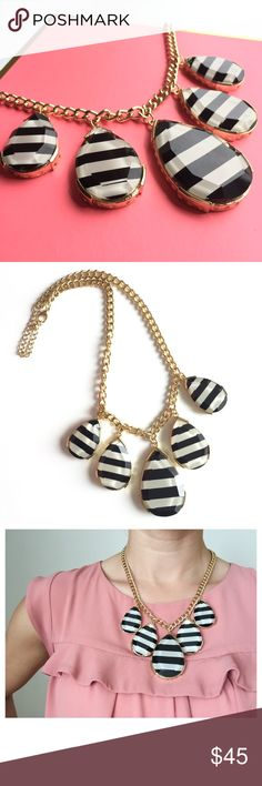 Striped Statement Necklace Black, white, and gold necklace. Worn once. Excellent condition.  Adjustable length. Boutique Jewelry Necklaces