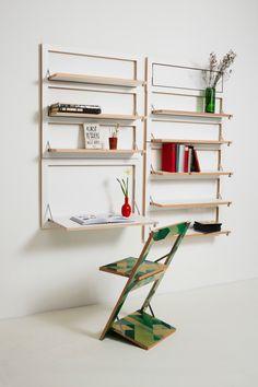 フラットに壁に収納できる壁面収納Flapps Shelf