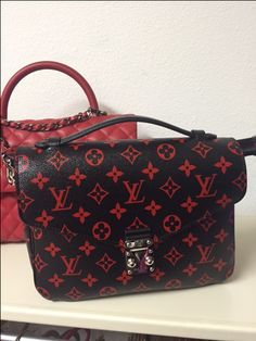 Loving red...Louis Vuitton infra rouge Pouchette Metis...pick up and go bag..