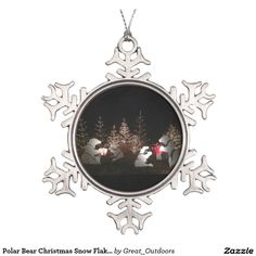 Shop Winter Forest Christmas Tree Snowflake Pewter Christmas Ornament created by Personalize it with photos & text or purchase as is!