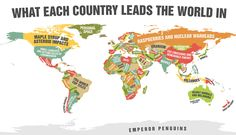 Cool one of a kind MAP ! This Funny World Map Shows What Every Country Leads The World In Heat Movie, Funny Maps, Deadly Animals, Create A Map, Tips & Tricks, Wtf Fun Facts, Random Facts, The More You Know, World Leaders