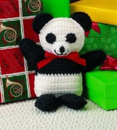 You can see it in black and white—this cuddly crochet critter is one any tot will love!