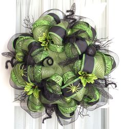 Deco Mesh Wreath Decorations | FuNkY HaLlOwEeN Deco Mesh Wreath Lime Green Black Halloween Decor