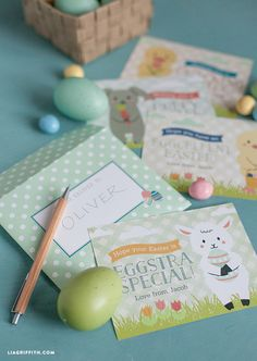 Easter Cards for Kids..posted by Lia Griffith..If you're pressed for time but your kiddo wants to share a little something at Easter then this is the perfect print and trim project for you. Before printing you first download and install the free font that we used.