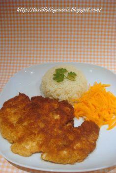 Ταξίδι στις γεύσεις!!!: Σνίτσελ κοτόπουλου πανέ Rice, Eggs, Chicken, Meat, Breakfast, Recipes, Food, Beef, Morning Coffee