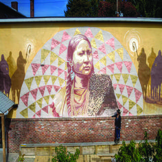 Pretty Nose and Dakota Unity Riders, a mural by Lmnopi, in Kingston, NY as part of the O+ Festival. #HudsonValley #art