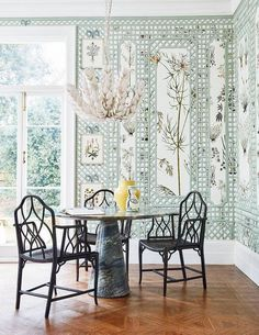 A shoppable scheme using rattan furniture and fresh spring colours Botanical french trellis- custom Trellis Wallpaper, Fabric Wallpaper, Wallpaper Ideas, Red Blinds, What A Wonderful Life, Bamboo Furniture, Cane Furniture, Wood Pendant Light, Shops